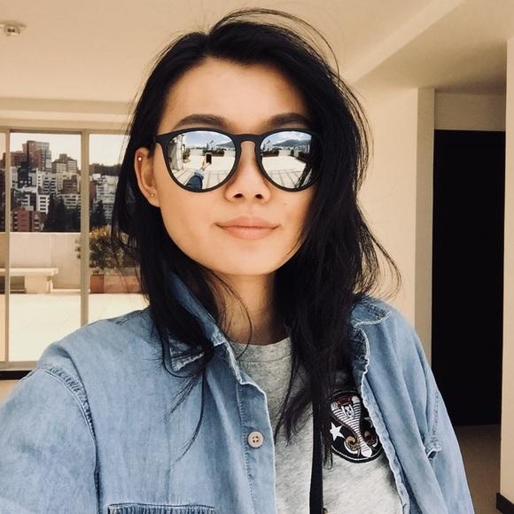 ray ban accessories ray ban erika black mirror lens sunglasses rh poshmark com